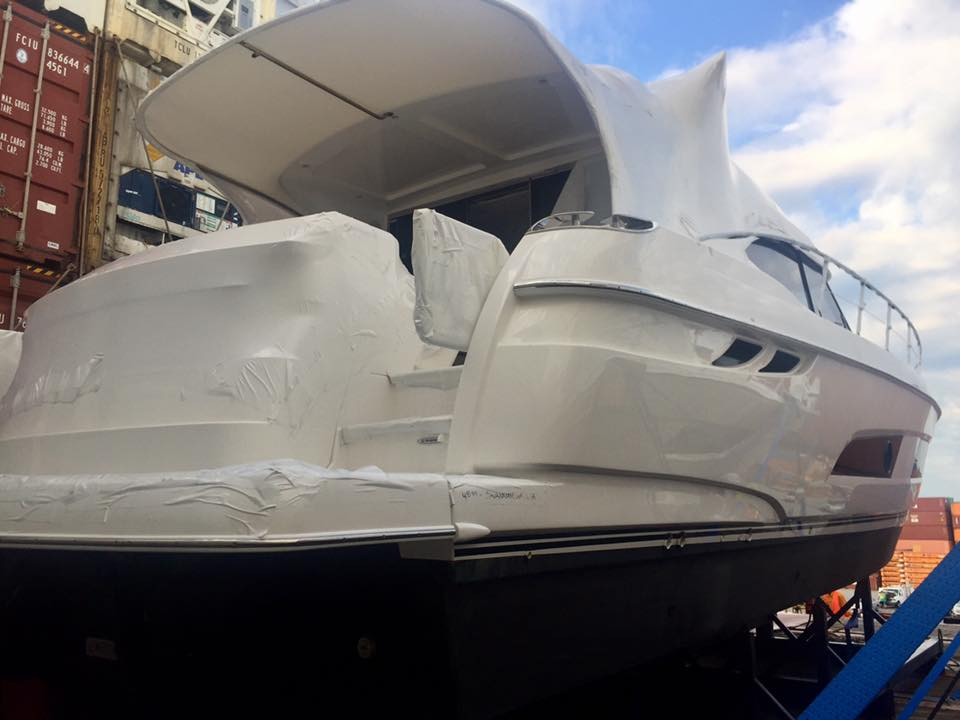 Rear of shrink wrapped boat