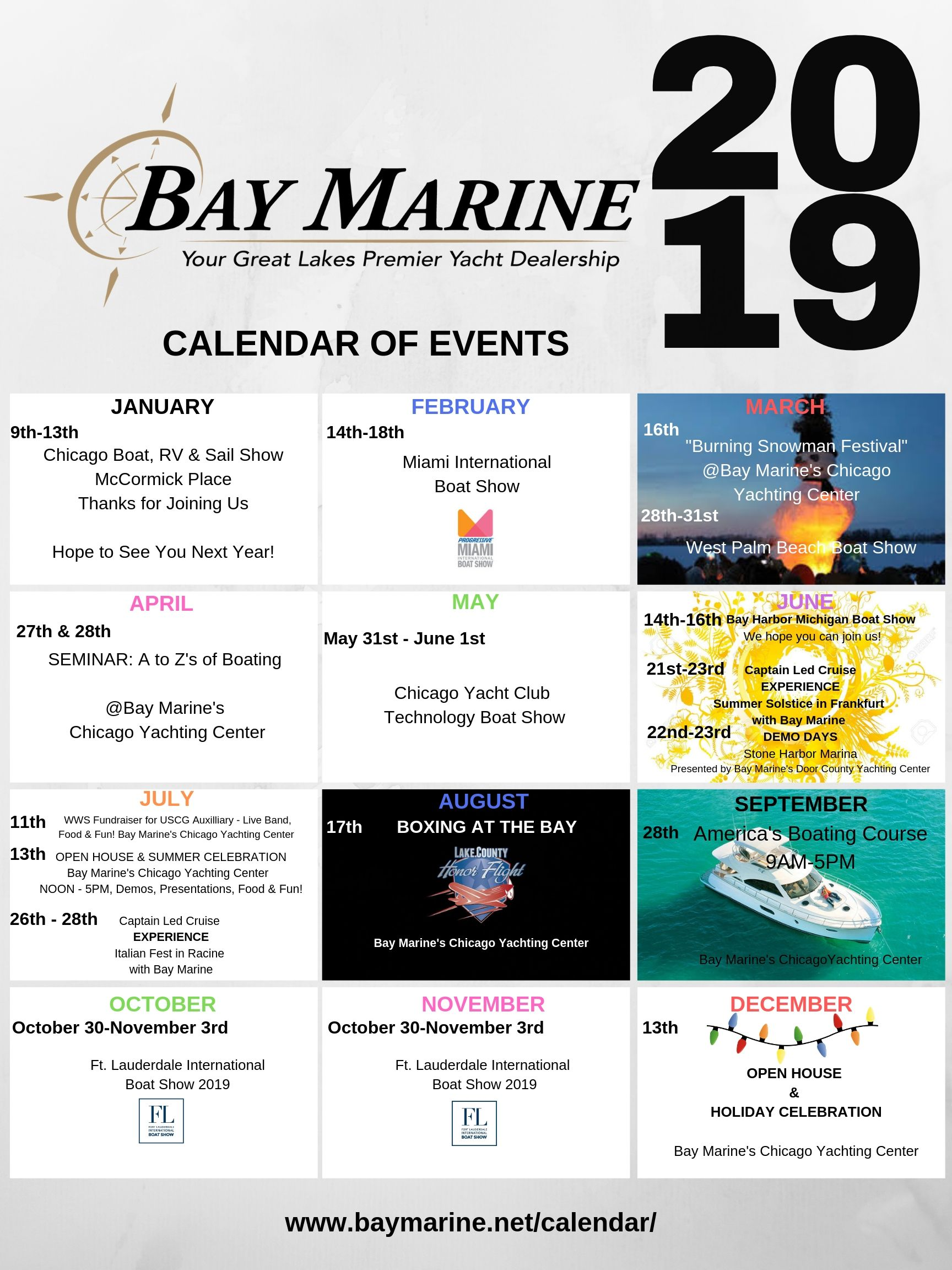 Chicago Boat Show 2020.Calendar Of Events Bay Marine